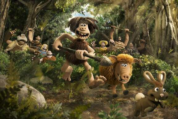 """Dug (Eddie Redmayne) and his pet pig Hognob (Nick Park) lead the rabbit hunt in """"Early Man,"""" opening Friday, Feb. 16, at Bay Area theaters. Photo courtesy of Aardman."""