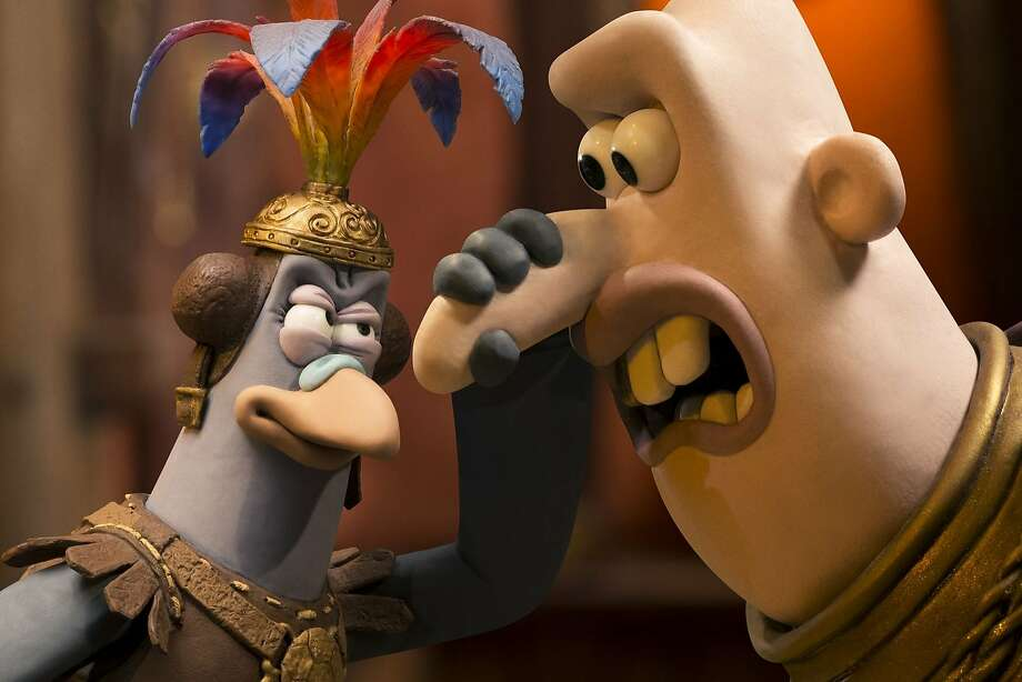 "Message Bird and Lord Nooth in ""Early Man."" Photo: Aardman"