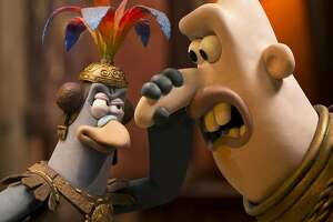 """L-R: Message Bird (Rob Brydon) with Lord Nooth (Tom Hiddleston) in Nick Park's stop-motion feature """"Early Man."""" Photo courtesy of Aardman."""