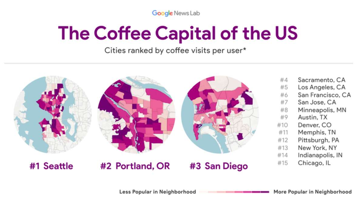 The coffee capitals of the U.S., as designated by Google News Lab.