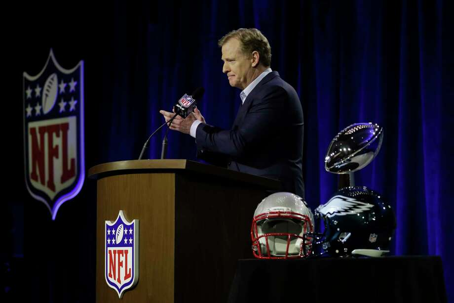 NFL Commissioner Roger Goodell speaks during a news conference in advance of the Super Bowl 52 football game, Wednesday, Jan. 31, 2018, in Minneapolis. The Philadelphia Eagles play the New England Patriots on Sunday, Feb. 4, 2018. (AP Photo/Matt Slocum) Photo: Matt Slocum, STF / Copyright 2018 The Associated Press. All rights reserved.