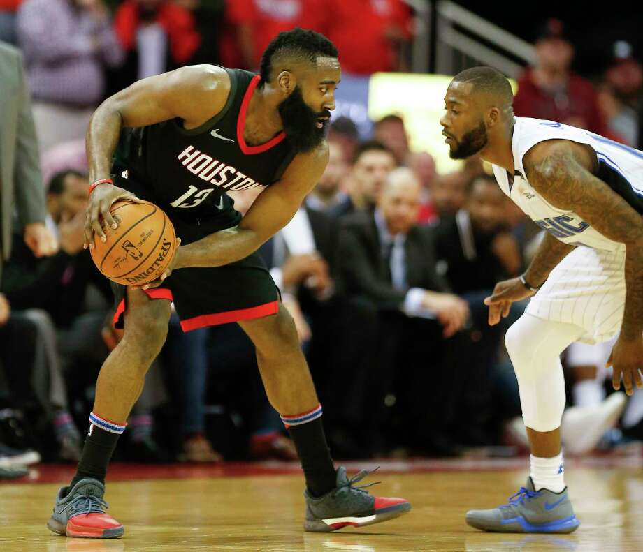 TOP CANDIDATES FOR THE NBA'S MVP AWARDJames HardenBy the numbers: 31.5 ppg, 5rpg 9.1 apg, 45.1 FG %, 38.7 %.Advanced stats: 54.8 eFG %, 30.4 PER, 9.6 win shares (per basketball-reference)Argument against: Shooting percentages don't match some candidates.Argument for: Carried a team with a glut of injuries to the second-best record in the NBA with the planned starting lineup together for just 17 games (16 wins). Photo: Steve Gonzales, Houston Chronicle / © 2018 Houston Chronicle