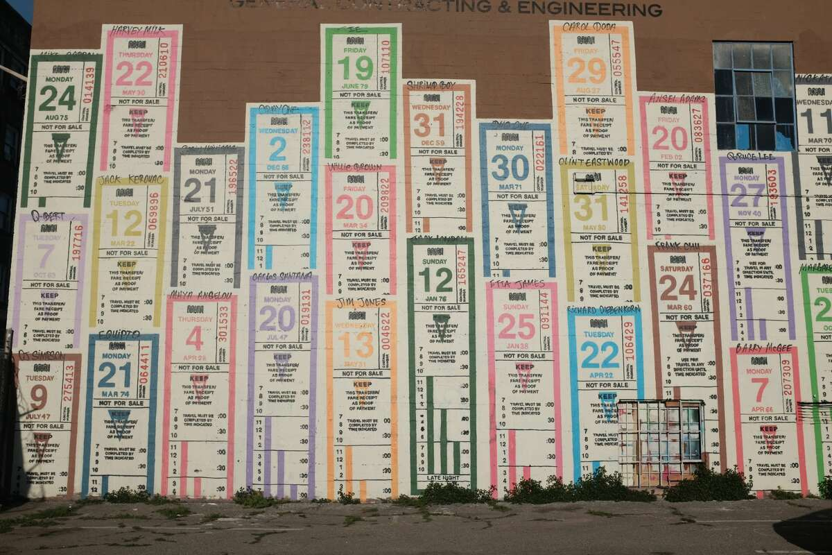 A mural by the artist Optimist depicts old Muni transfer tickets on the wall of a South of Market business. Each ticket is numbered with the birthdate of an artist, musician or other notable Bay Area figure, including a few criminals. Click to see their photos.