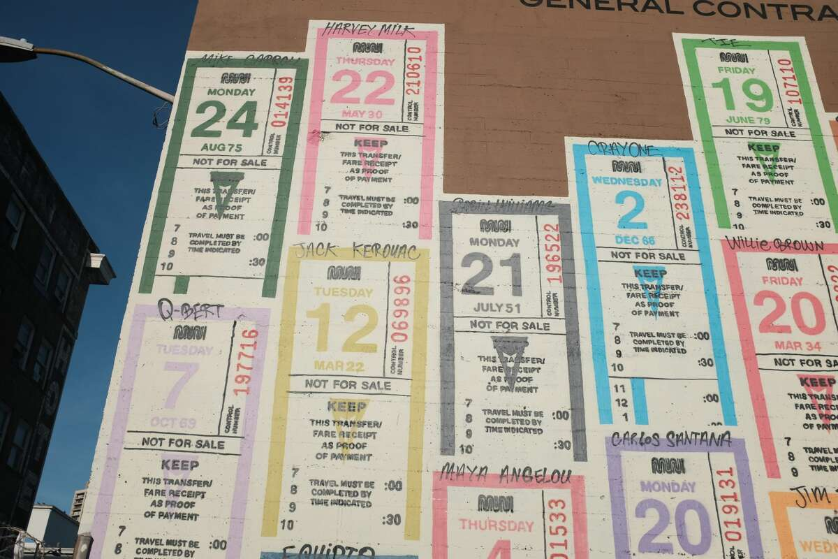 A closeup of a mural by the artist Optimist depicts old Muni transfer tickets on the wall of a South of Market business. Each ticket is numbered with the birthdate of an artist, musician or other notable Bay Area figure, including a few criminals. Click to see their photos.