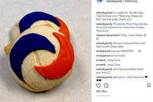 An Instagram post of Tide Pod-inspired pan dulce by San Antonio baker Joe Andy Garcia. The edible conchas are a spoof of the Tide Pod Challenge, where teens have placed such detergent pods in their mouth and posted the videos online.
