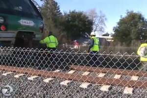 Service was on the SMART train was briefly halted Wednesday after a woman was hit on the tracks in Santa Rosa.
