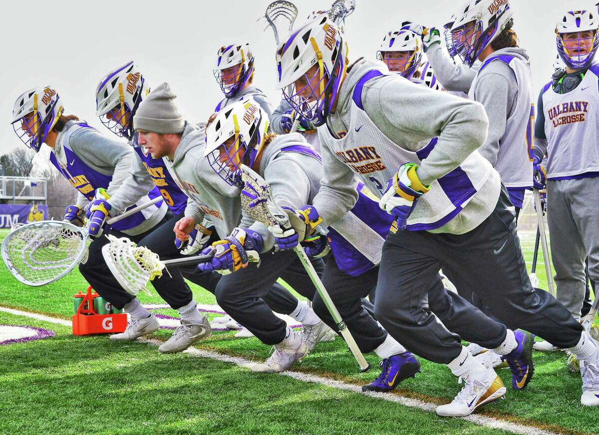 UAlbany lacrosse team practices Wednesday Jan. 31, 2018 in Albany, NY. (John Carl D'Annibale/Times Union)