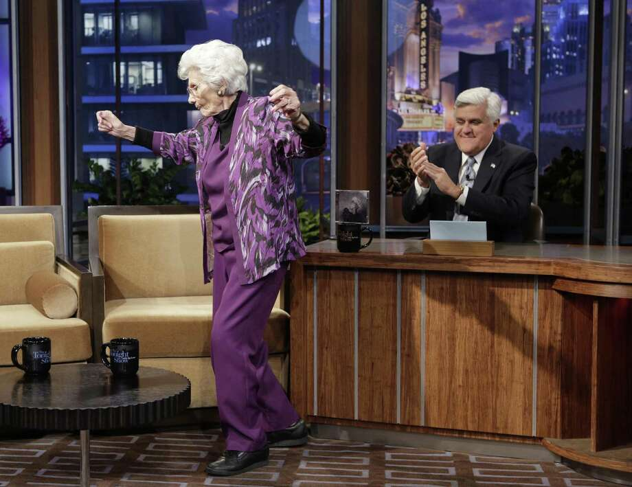 """Actress Connie Sawyer, then 100 years old, dances during a commercial break on """"The Tonight Show With Jay Leno.""""  She spent some time growing up in Oakland before winning a post-high school talent show in S.F. Photo: NBC / NBC Via Getty Images / 2013 NBCUniversal Media, LLC"""