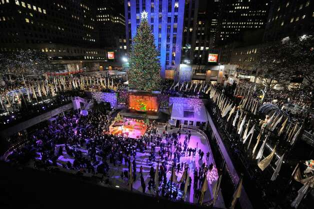 The Rockefeller Center Christmas Tree after the lighting ceremony at the Rockefeller Center Christmas tree lighting at Rockefeller Center on December 2, 2009 in New York City.  (Photo by Jemal Countess/Getty Images) Photo: Jemal Countess / 2009 Getty Images