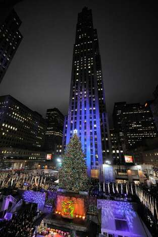 A general view of the Rockefeller Center Christmas tree lighting at Rockefeller Center on December 2, 2009 in New York City.  (Photo by Bryan Bedder/Getty Images) Photo: Jemal Countess / 2009 Getty Images