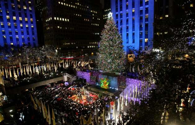 A general view of the Rockefeller Center Christmas tree lighting at Rockefeller Center on December 2, 2009 in New York City.  (Photo by Bryan Bedder/Getty Images) Photo: Frank Franklin II