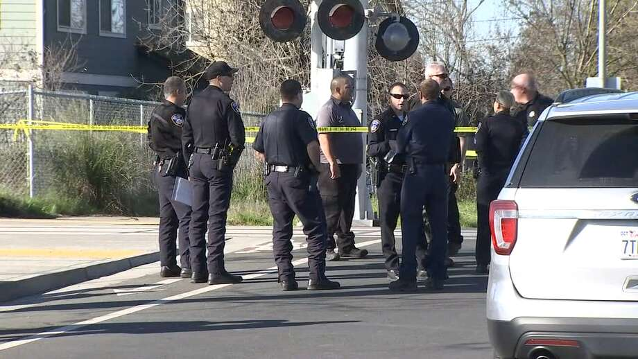 Santa Rosa police investigators joined SMART Train police at the scene of Wednesday's deadly incident. Photo: KTVU