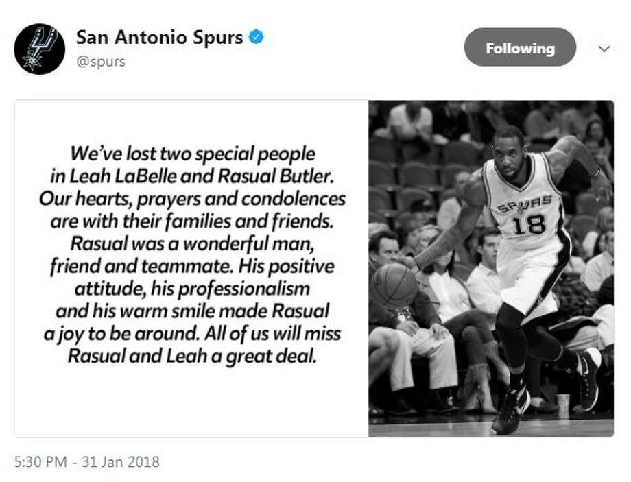 @Spurs: We've lost two special people in Leah LaBelle and Rasual Butler. Our hearts, prayers and condolences are with their families and friends. Rasual was a wonderful man, friend and teammate. His positive attitude, his professionalism and his warm smile made Rasual a joy to be around. All of us will miss Rasual and Leah a great deal.