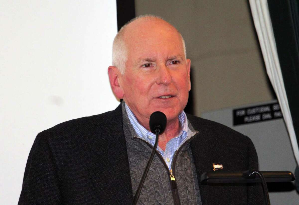 First Selectman Jim Marpe delivers the State of the Town address at Westport Town Hall Jan. 28.