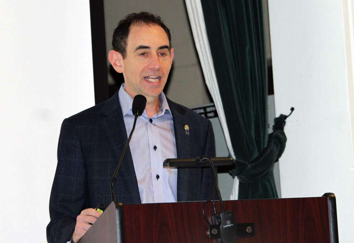 Board of Education Chairman Michael Gordon delivers the State of the Town Address on Jan. 28, 2018 in Westport, Conn.