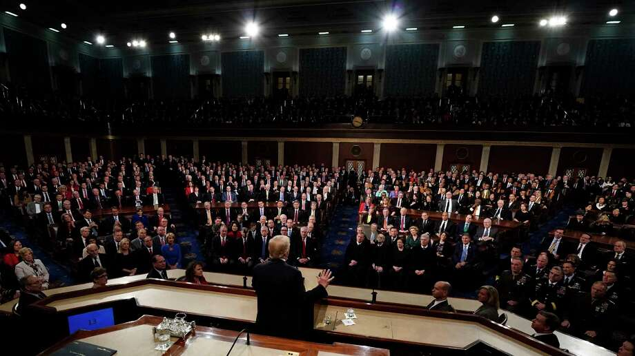 President Donald Trump deliver his State of the Union address to a joint session of U.S. Congress on Capitol Hill in Washington, Tuesday, Jan. 30, 2018. (Jim Bourg/Pool via AP) Photo: Jim Bourg, POOL / Pool Reuters