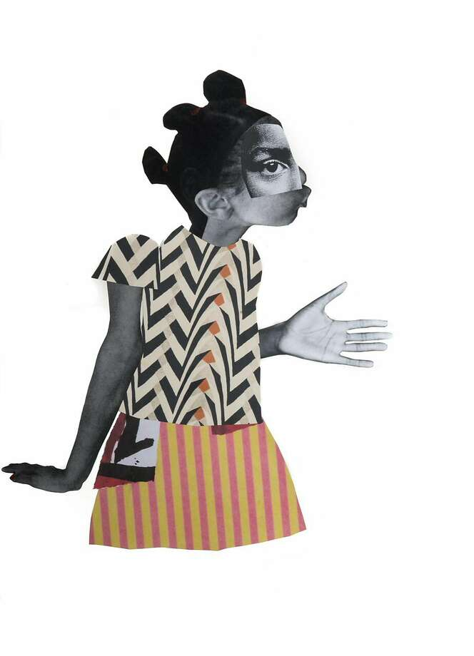 "Deborah Roberts, ""The Plea"" (2017), detail Photo: Jenkins Johnson Gallery"