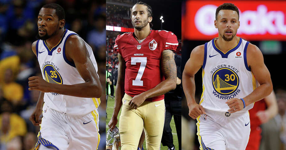 Kevin Durant, Colin Kaepernick, and Stephen Curry.