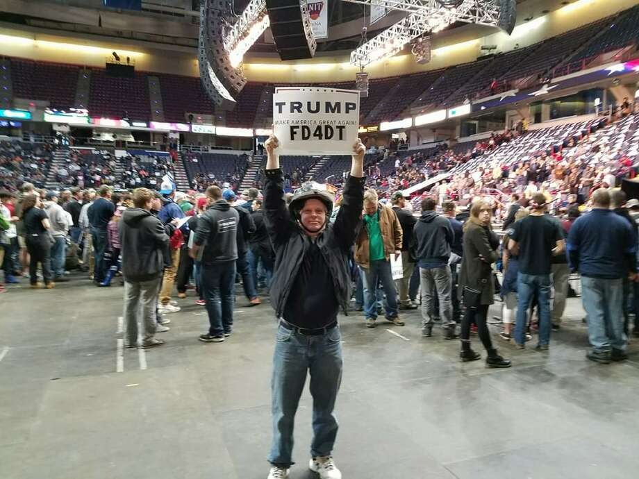 Paul Collins of Troy at a Donald Trump rally in Albany (Submitted)