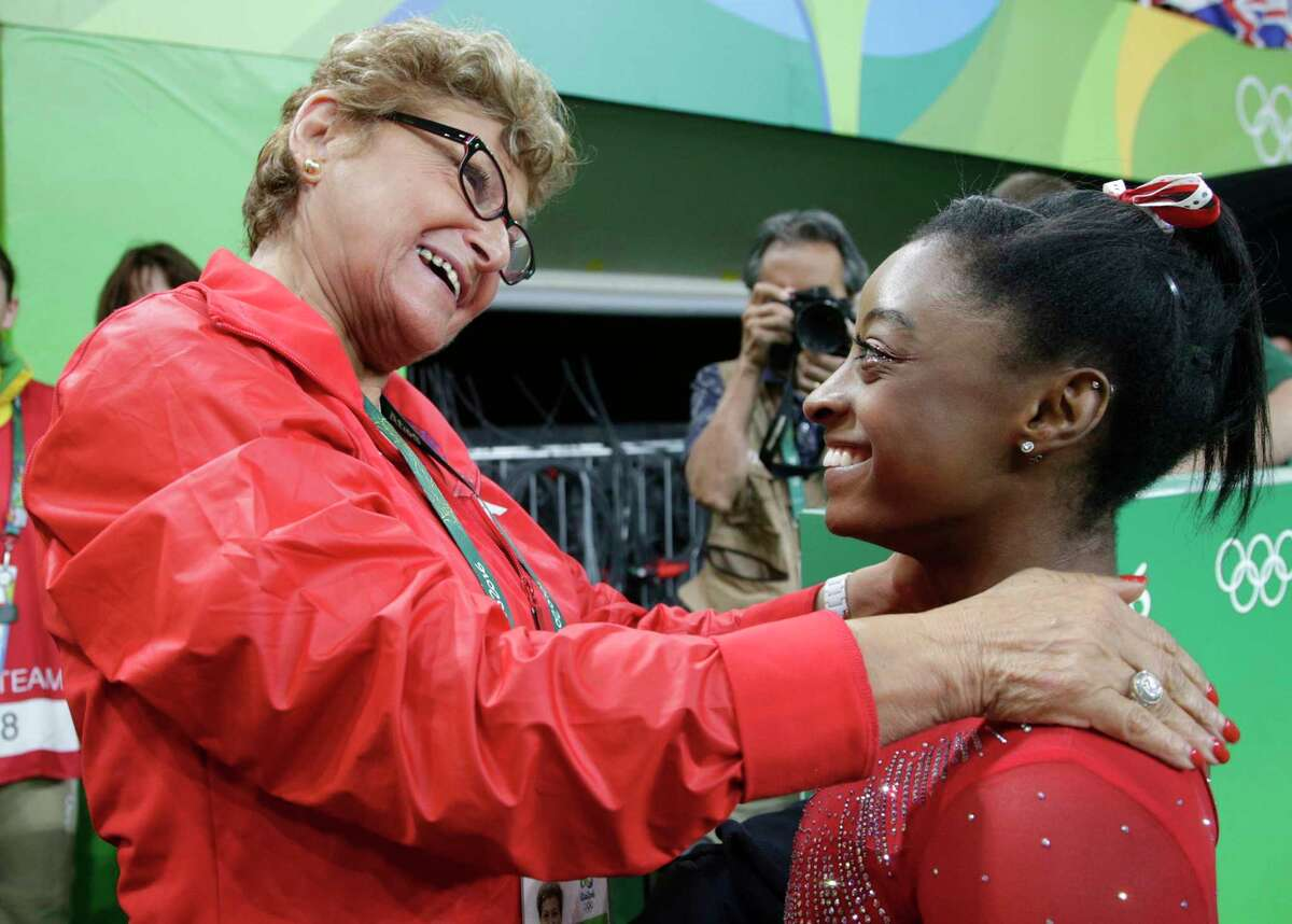 Martha Karolyi, left, and Simone Biles shared happier times before a sexual abuse scandal rocked the gymnastics world.