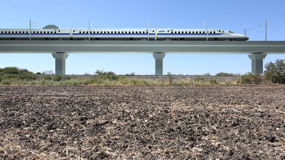 Texas Central Partners plans to use earthen berms and viaducts to separate high-speed trains from streets and across rural areas, as shown in their renderings in August 2017. Photo: Texas Central Partners