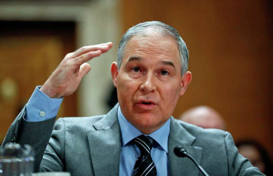 Environmental Protection Agency Administrator Scott Pruitt testifies before the Senate Environment Committee on Capitol Hill in Washington, Tuesday, Jan. 30, 2018. (AP Photo/Pablo Martinez Monsivais) Photo: Pablo Martinez Monsivais, STF / Copyright 2018 The Associated Press. All rights reserved.