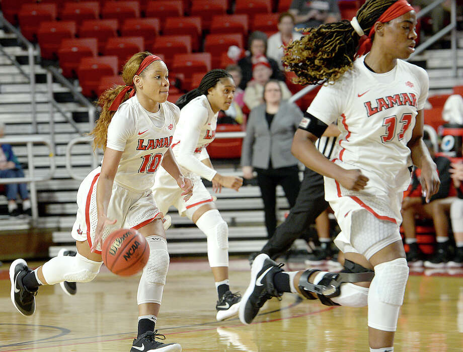 Lamar's Chastadie moves the ball down court against Abilene Christian during their game at the Montagne Center Wednesday. The Lady Cardinals are aiming to continue their record-setting winning streak. Photo taken Wednesday, January 31, 2018 Kim Brent/The Enterprise Photo: Kim Brent, Beaumont Enterprise / BEN