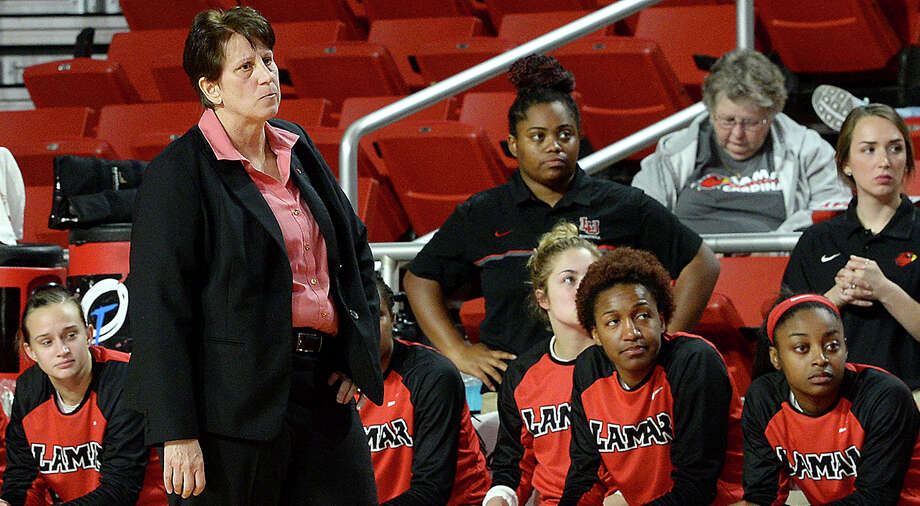 Lamar's coach Robin Harmony reacts as she takes in the action against Abilene Christian during their game at the Montagne Center Wednesday. The Lady Cardinals are aiming to continue their record-setting winning streak. Photo taken Wednesday, January 31, 2018 Kim Brent/The Enterprise Photo: Kim Brent, Beaumont Enterprise / BEN
