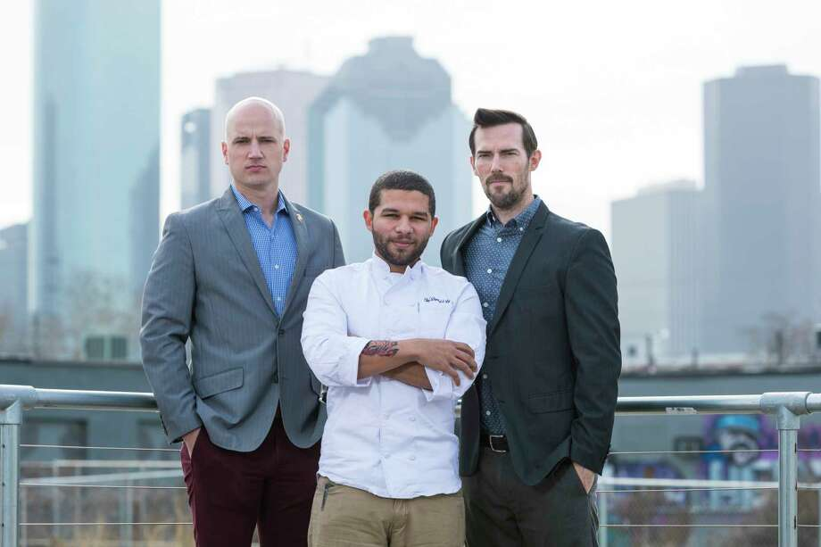 General manager Todd Leveritt, chef Dominick Lee, and owner Ian Tucker are the team behind the new restaurant Poitin, opening in spring 2018 at Sawyer Yards. Photo: Trevor Gerland