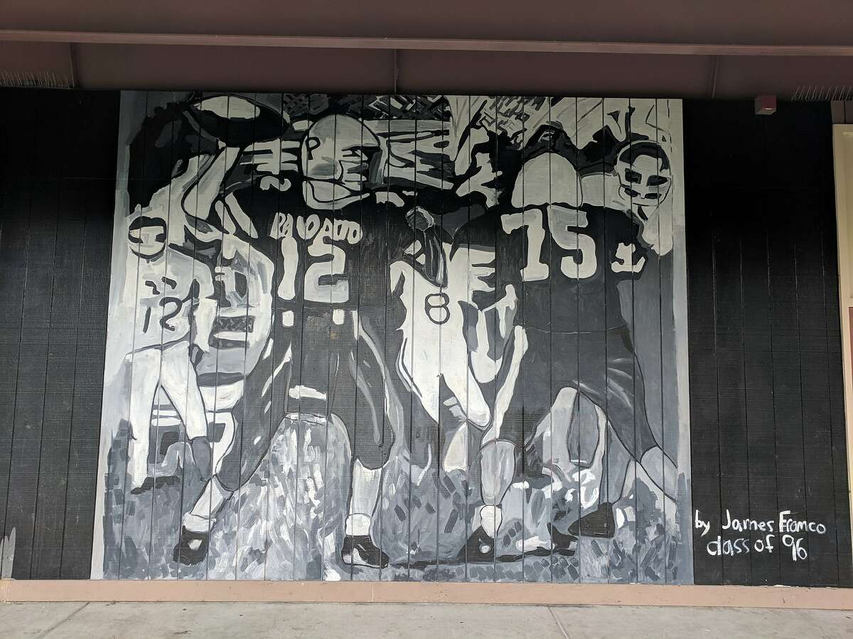 A mural painted by James Franco in 2014 was removed from Palo Alto High School on Monday, in the wake of allegations of sexual misconduct. Other paintings of his remain hanging on campus.