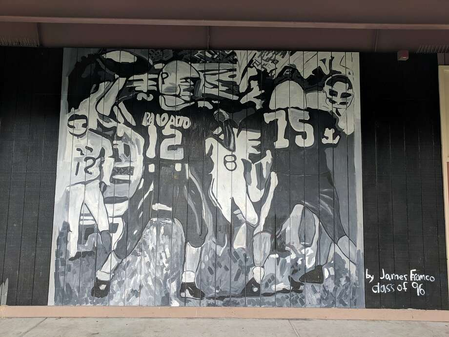 A mural James Franco painted for his alma mater, Palo Alto High, in 2014 has been painted over, and paintings he donated to the school are to be removed. Photo: Courtesy Of The Campanile, Palo Alto High School