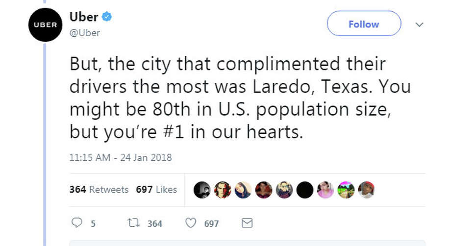 Uber has named Laredo the city with the most complimented Uber drivers in 2017. Among the titles given to other cities: Late Night Heroes, Great Amenities Great Conversations and Entertaining Drivers. Photo: Twitter.com/Uber