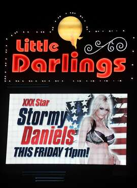 LAS VEGAS, NV - JANUARY 25:  A sign at Little Darlings Las Vegas advertises an upcoming performance at the strip club by adult film actress/director Stormy Daniels on January 25, 2018 in Las Vegas, Nevada. Daniels, whose real name is Stephanie Clifford, was allegedly paid USD 130,000 by an attorney for Donald Trump one month before the 2016 presidential election to keep her from talking about an alleged sexual encounter with Trump in 2006.  (Photo by Ethan Miller/Getty Images)
