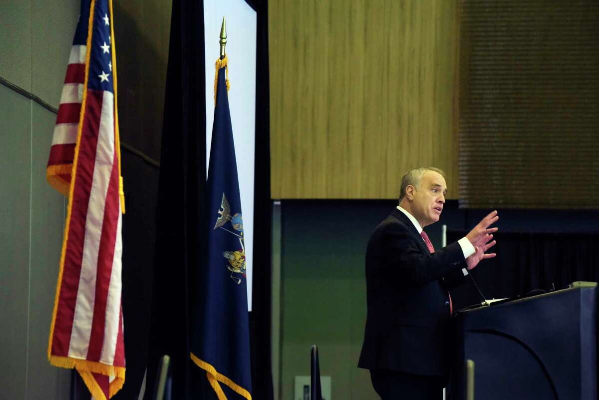 New York State Comptroller Thomas DiNapoli speaks at the NYS Economic Development's annual conference at the Albany Capital Center on Thursday, Feb. 1, 2018, in Albany, N.Y. (Paul Buckowski/Times Union)