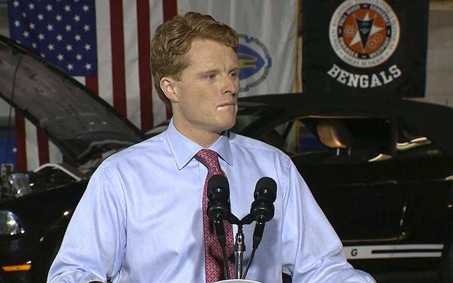 Rep. Joe Kennedy III, D-Mass., delivers the Democratic response to President Donald Trump's State of the Union, at Diman Region al Vocational Technical High School in Fall River, Mass. The Kennedy family scion called for economic fairness and for unity across racial and regional lines. Photo: Associated Press
