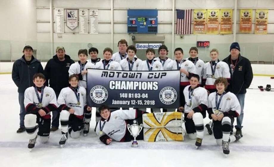 The Huron County Barn Burners recently won the Motown Cup B-1 Bantam championship. Pictured left to right: (kneeling/laying) Theron Harris, Liam Boyle, Mitchell Rowland, Caleb Guigar and Bradley Howard (standing left to right): coach John Wright, coach Jerod Horetski, Brett Campbell, Kai Whipple, Cory Kent, Nick Prill, Zach Kretzschmer, Austin Strahan, Landen Horetski, Austin Volmering, Evan Schenk, Hunter Dubs and coach Scott Whipple. (Submitted Photo)