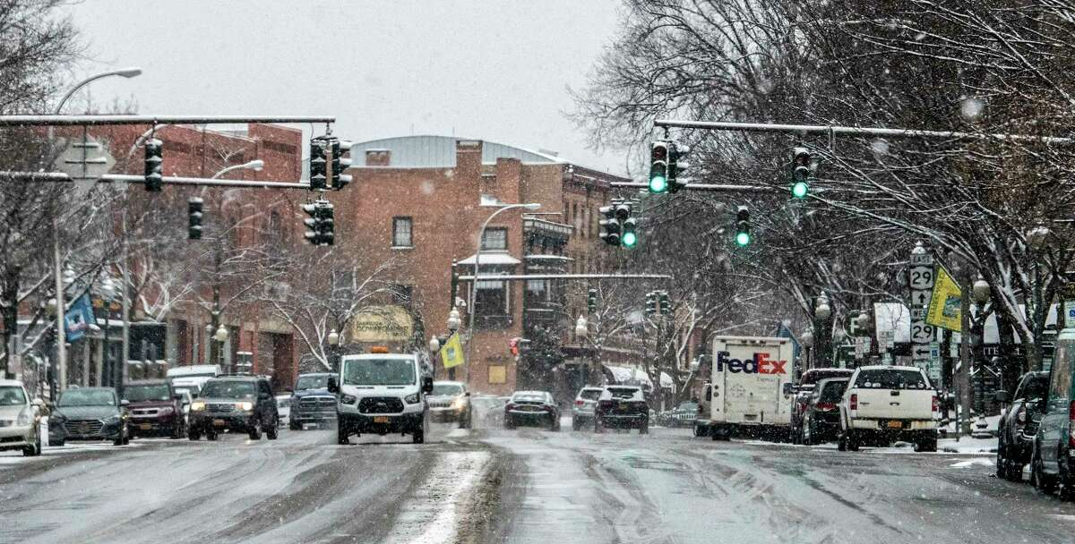 Broadway looking northbound from Congress Street Thursday, Feb. 1, 2018 in Saratoga Springs, N.Y. (Skip Dickstein/Times Union)