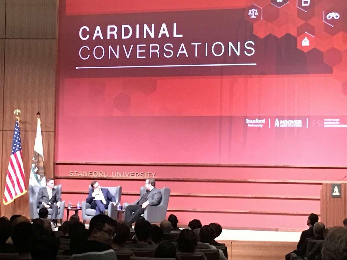 "Peter Thiel and Reid Hoffman discuss politics at a ""Cardinal Conversations"" series at Stanford University."