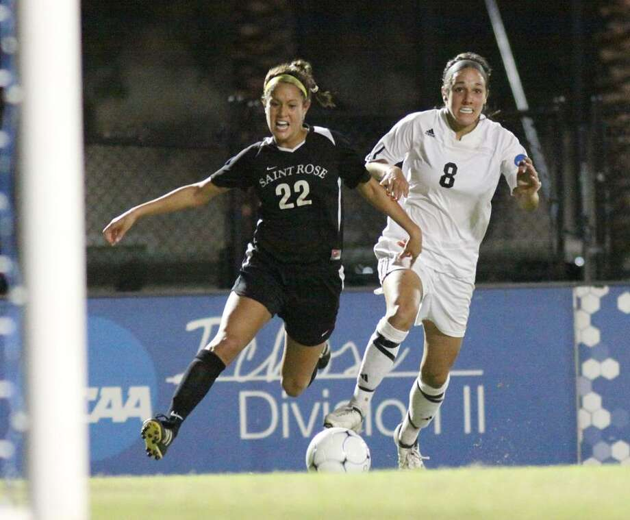 Saint Rose forward Gianna D'Errico fights for a ball in front of the Grand Valley State goal in Thursday's Division II Women's soccer semfinal at the University of Tampa. Saint Rose went on to lose the match 3-2 in overtime after taking a 2-0 first-half lead. (Scott Purks/Special to the Times Union)