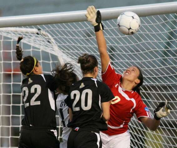 The second goal for Saint Rose slips over the hand of Grand Valley State's keeper. (Scott Purks/Special to the Times Union)