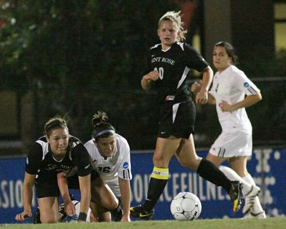 All eyes are on the ball in Thursday's National Division II soccer semfinal, which Saint Rose lost 3-2 in overtime to Grand Valley State. (Scott Purks/Special to the Times Union)