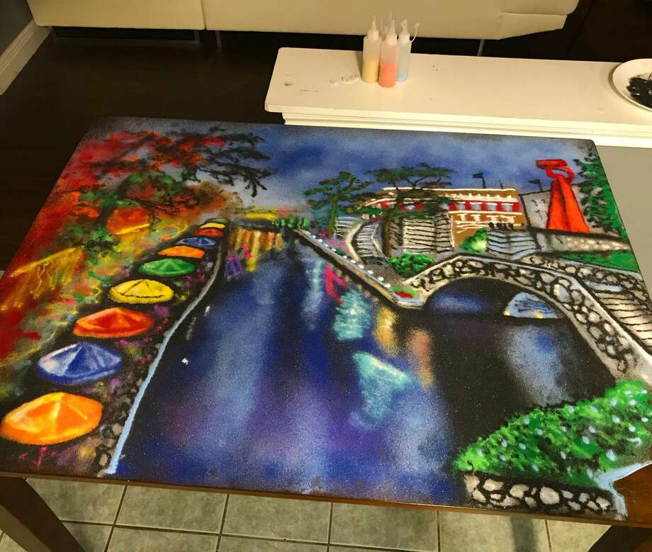 "Riverwalk scene made out of art by Rob ""The Original"" Ferrel."