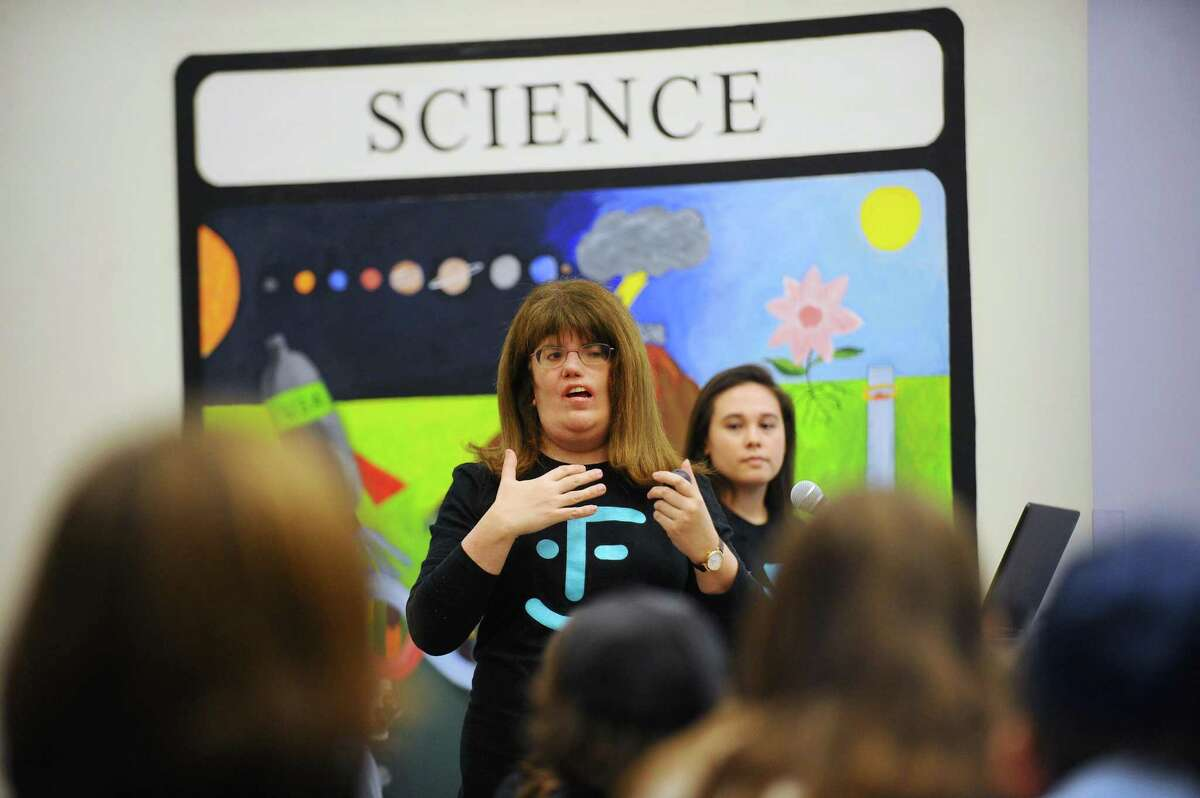 Director of family programs at myFace Dina Zuckerberg speaks to students inside the Bi Cultural Day School on High Ridge Road in Stamford, Conn. on Wednesday, Jan. 31, 2018. MyFace is a non-profit organization dedicated to transforming the lives of patients with craniofacial conditions while also educating the public about these facial differences like Treacher Collins syndrome, which was recently highlighted in the movie