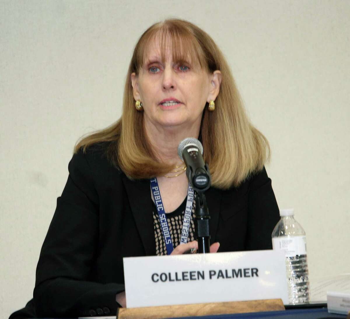 Superintendent of Schools Colleen Palmer responds to allegations that the district mishandled sexual assault complaints at the Jan. 29, 2018 meeting of the Board of Education in Westport, Conn.