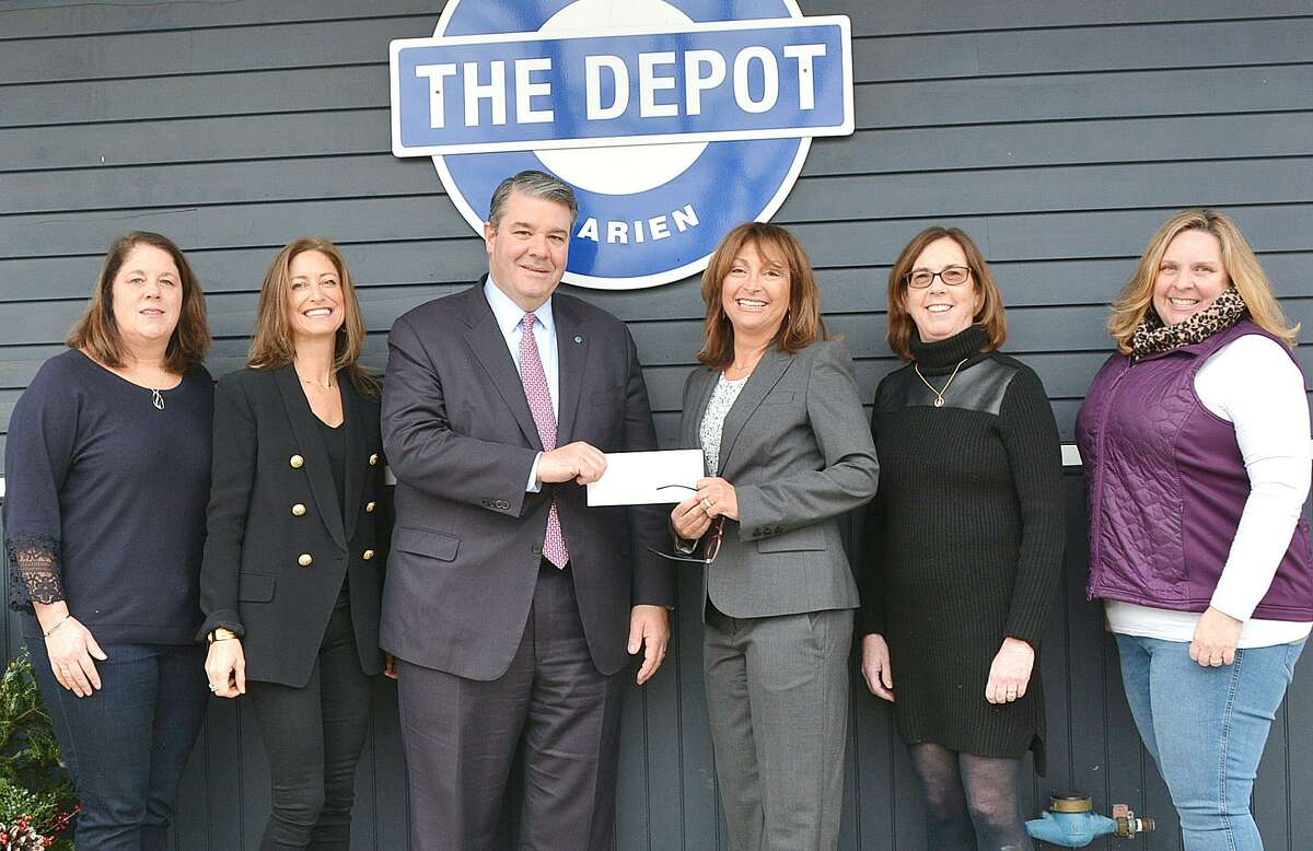 Bankwell donated $10,000 to the Darien Depot. From left: Christine Popson, Kathy Arrix, David Dineen, Bonni Gottlieb, Ellen Bay and Kathryn Doran.