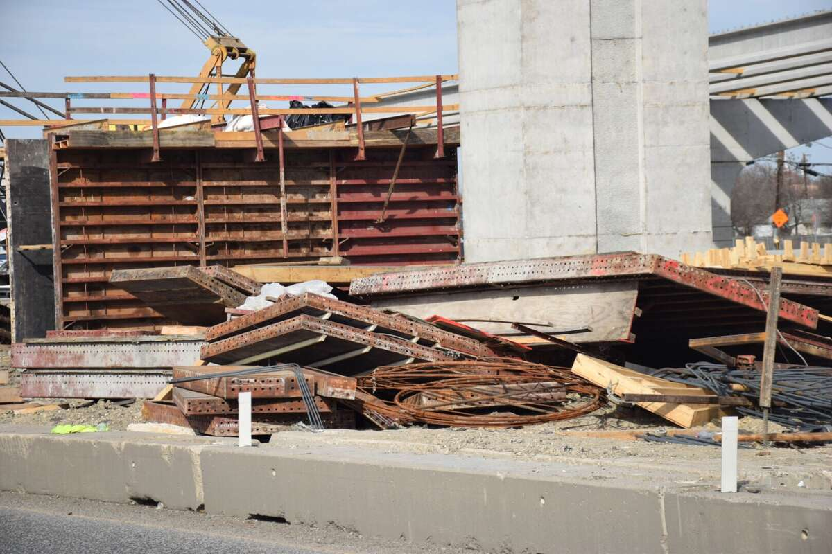 Three construction workers were crushed by around 1,000 pounds of rebar Thursday afternoon in a construction site accident at Loop 410 and U.S. 90.