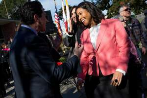 London Breed, president of the Board of Supervisors, at the Marina Branch Library Plaza, Tuesday, Jan. 30, 2018, in San Francisco, Calif. County Clerk Catherine Stefani was sworn in as District 2 supervisor, replacing interim mayor Mark Farrell.