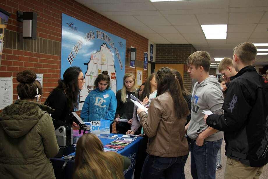 Huron County High School students attend Career Day Wednesday morning at the Huron Area Technical Center, where business and educational professional answered students' questions. Photo: Brenda Battel/Huron Daily Tribune
