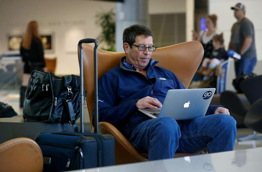 Cheap fares banned by businesses. Pictured: Business traveler Peter Von Der Linda waits for his flight back to New Jersey at San Francisco International Airport on Thursday Feb. 1, 2018, in San Francisco, Calif. Photo: Michael Macor, The Chronicle