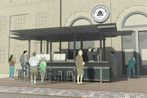 A rendering of the new outdoor oyster bar scheduled to open in Spring 2018 at Southerleigh Fine Food & Brewery at The Pearl.